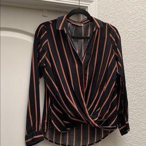 Black W/Red Stripe Long Sleeve Blouse